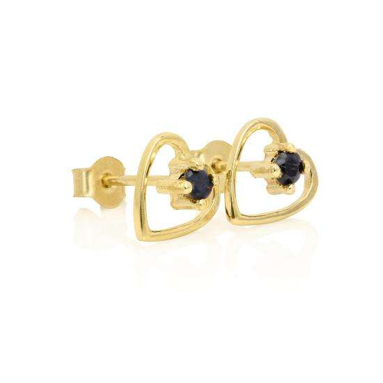 9ct Gold & 2mm Sapphire Gemstone Open Heart Stud Earrings