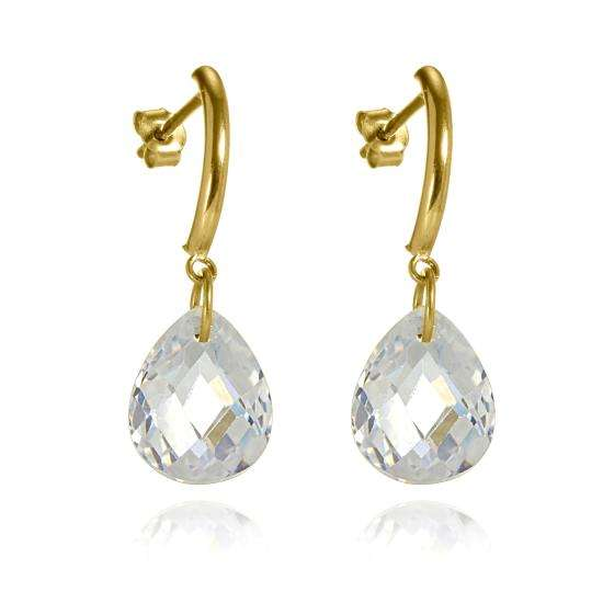 9ct Gold Bar & Faceted CZ Crystal Drop Stud Earrings