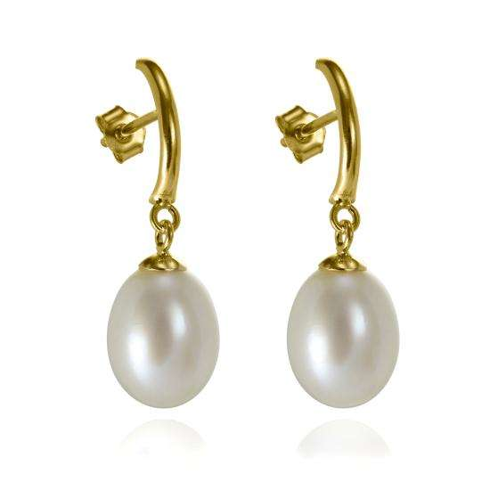 9ct Gold Bar & Freshwater Pearl Drop Stud Earrings