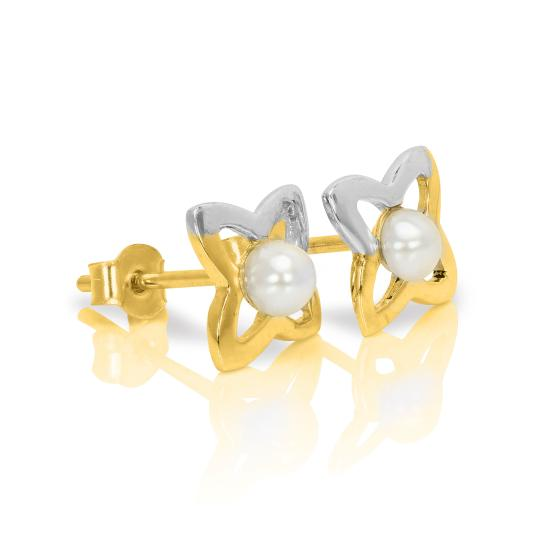 9ct Yellow & White Gold Star Outline Stud Earrings with Small Freshwater Pearl