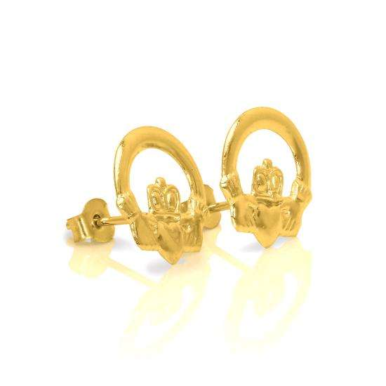 9ct Gold Irish Celtic Claddagh Stud Earrings