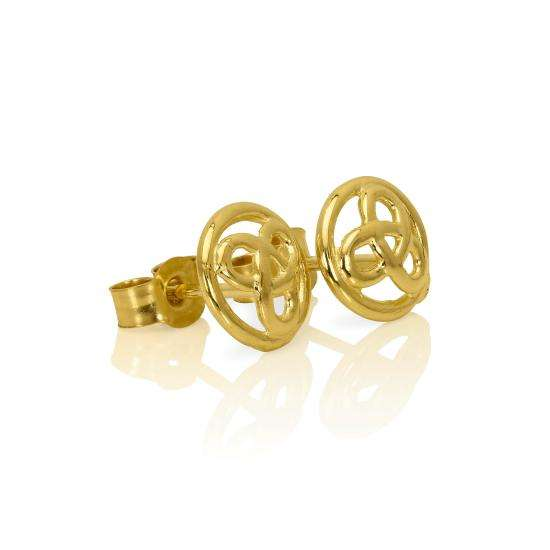9ct Gold Small 7mm Round Celtic Knot Stud Earrings