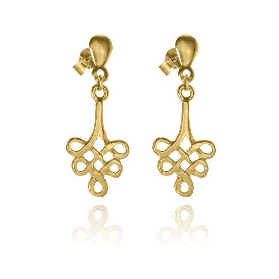 9ct Gold Celtic Knot Drop Stud Earrings