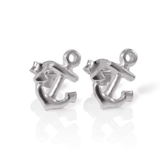 Sterling Silver Naval Anchor Stud Earrings