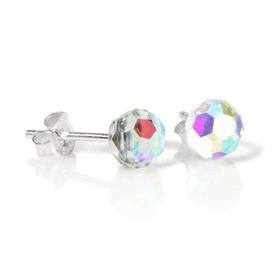 Sterling Silver & Aurora Borealis Faceted 6mm Crystal Ball Stud Earrings