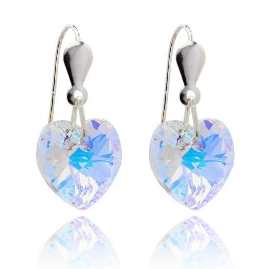 Sterling Silver & CZ Crystal 10mm Heart Earrings - Aurora Borealis