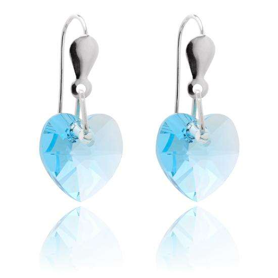 Sterling Silver & CZ Crystal 10mm Heart Earrings - Aquamarine