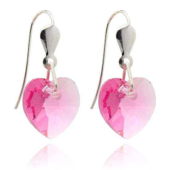 Sterling Silver & CZ Crystal 10mm Heart Earrings - Rose