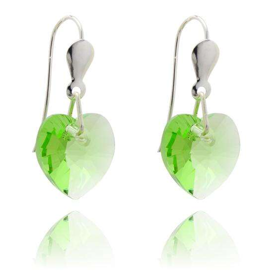 Sterling Silver & CZ Crystal 10mm Heart Earrings - Peridot
