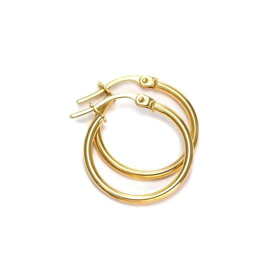 9ct Gold 15mm Sleeper Hoop Earrings