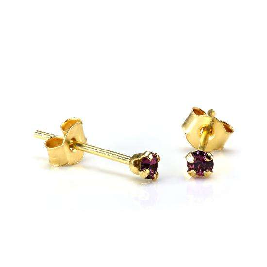 9ct Gold 2mm Round Amethyst Crystal Stud Earrings