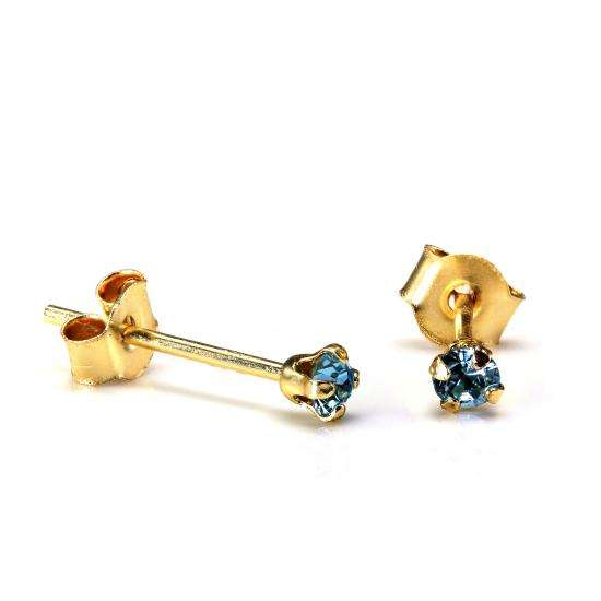 9ct Gold 2mm Round Aquamarine Crystal Stud Earrings