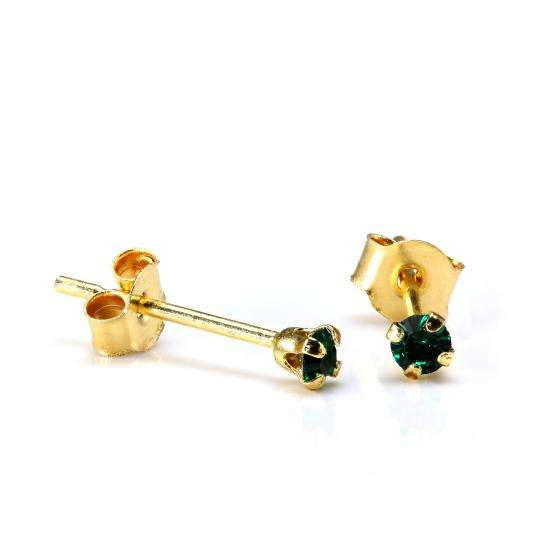 9ct Gold 2mm Round Emerald Crystal Stud Earrings