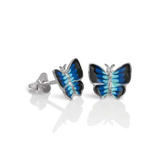 Sterling Silver & Blue Enamel Flat Butterfly Stud Earrings