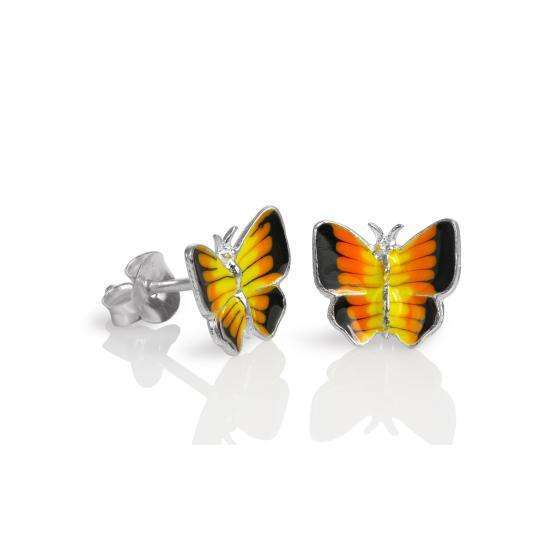 Sterling Silver & Yellow Enamel Flat Butterfly Stud Earrings