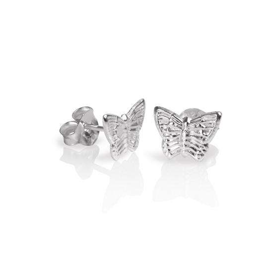 Sterling Silver Flat Butterfly Stud Earrings