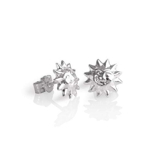 Sterling Silver Sun Face Stud Earrings