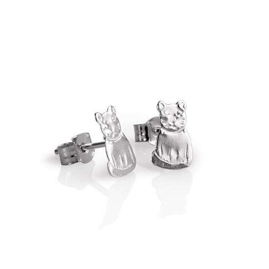 Sterling Silver Flat Sitting Cat Stud Earrings