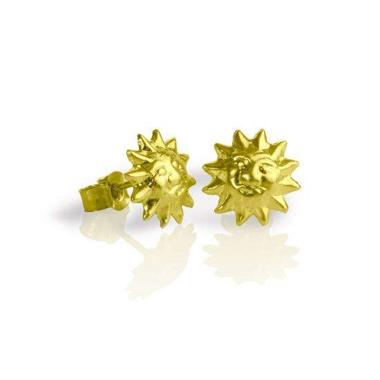 9ct Gold Sun Face Stud Earrings