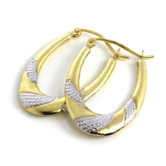 Oval 9ct White & Yellow Gold Twist Pattern Creole Hoop Earrings