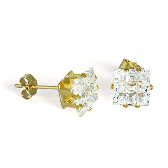 9ct Gold & 7mm Square CZ Crystal Stud Earrings