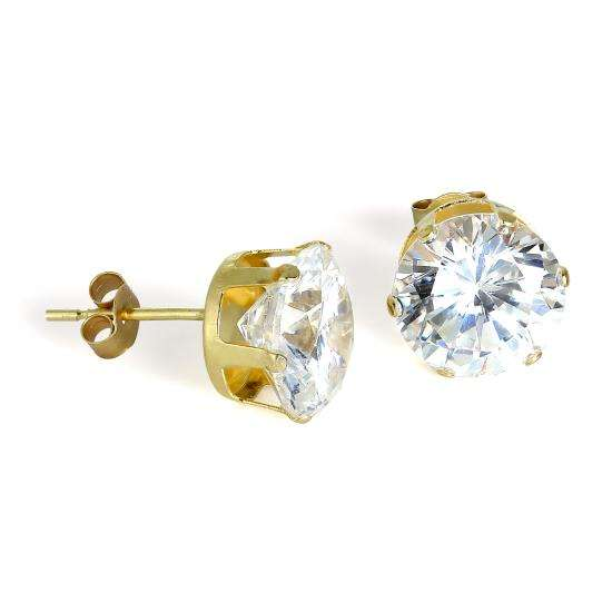 9ct Gold & 8mm Round Clear CZ Crystal Stud Earrings