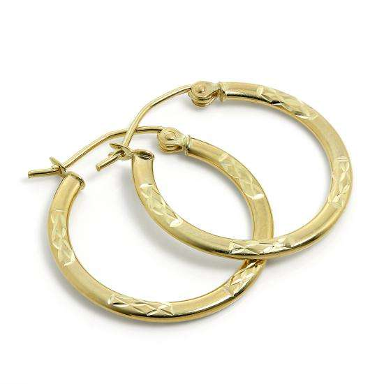 9ct Gold 20mm Diamond Cut Hoop Earrings