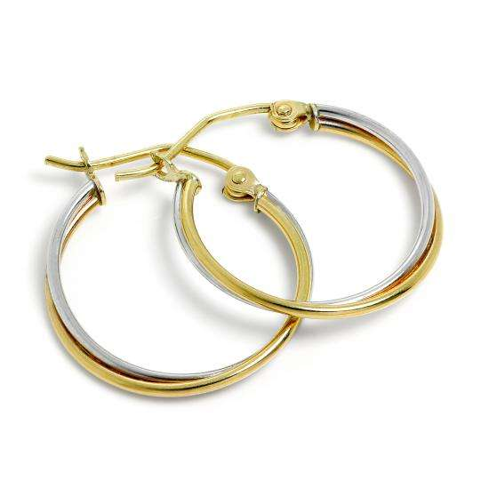 9ct White & Yellow Gold 18mm Double Tube Hoop Earrings