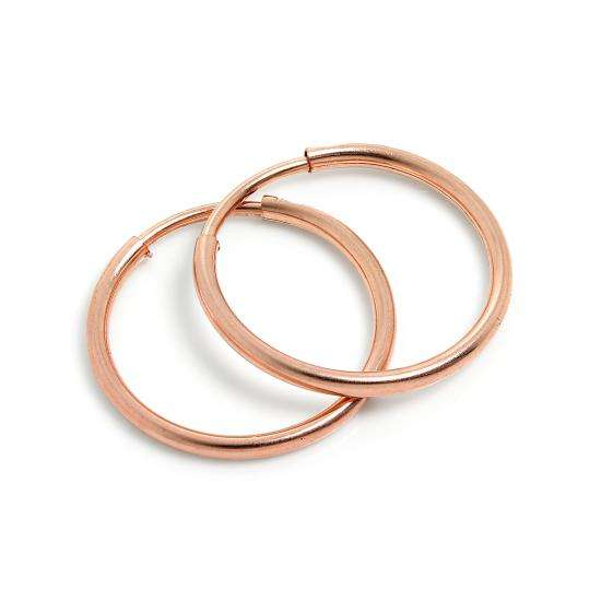 9ct Rose Gold 14mm Sleeper Hoop Earrings