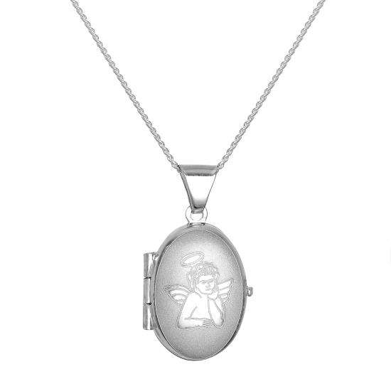 Small Matt Sterling Silver Oval Locket with Angel on Chain