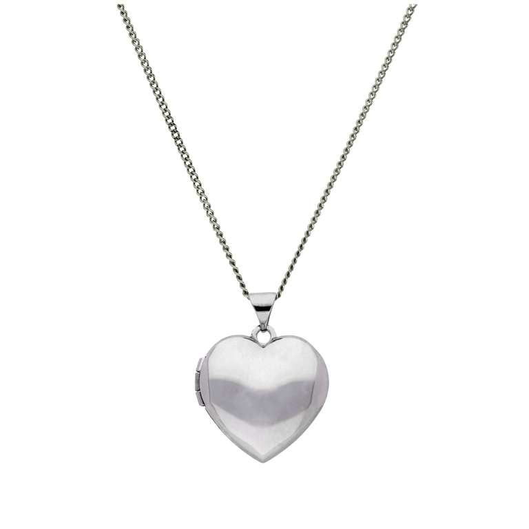 9ct White Gold Engravable Heart Locket on Chain 16 - 18 Inches