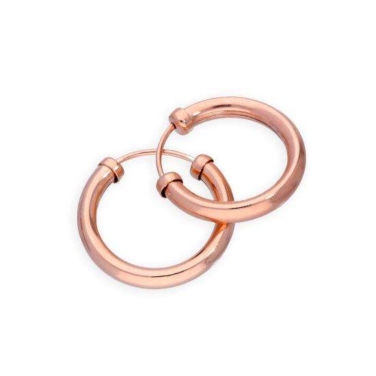 9ct Rose Gold 14mm Hoop Earrings