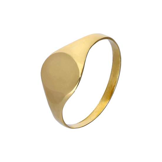 9ct Gold Engravable Teenage Oval Signet Ring Size F - M
