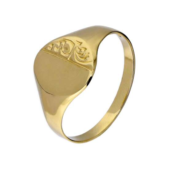 9ct Gold Engraved Ladies Round Signet Ring Size L - Q