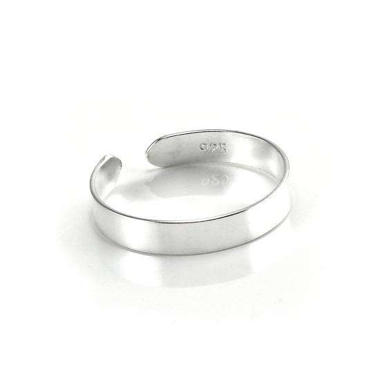 Sterling Silver 2mm Adjustable Plain Toe Ring
