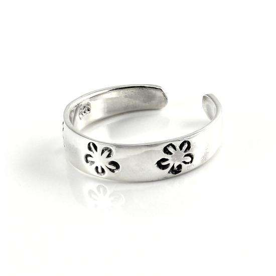 Stamped Sterling Silver 4mm Flowers Toe Ring
