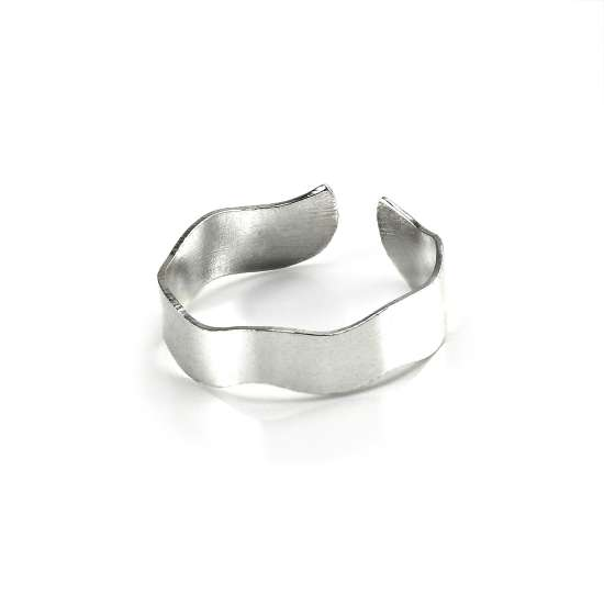 Sterling Silver 5mm Band Adjustable Wavy Toe Ring