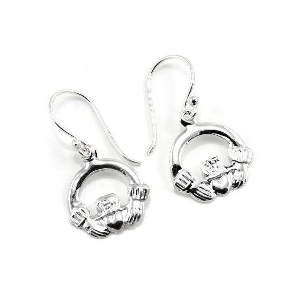 Sterling Silver Celtic Claddagh Drop Earrings