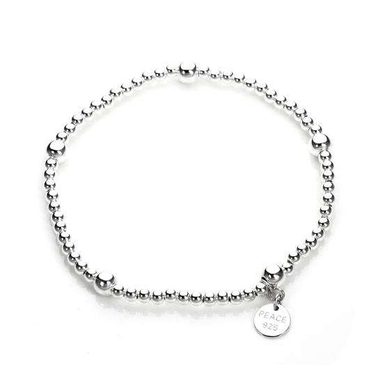 Sterling Silver Stretchy Beaded Charm Bracelet