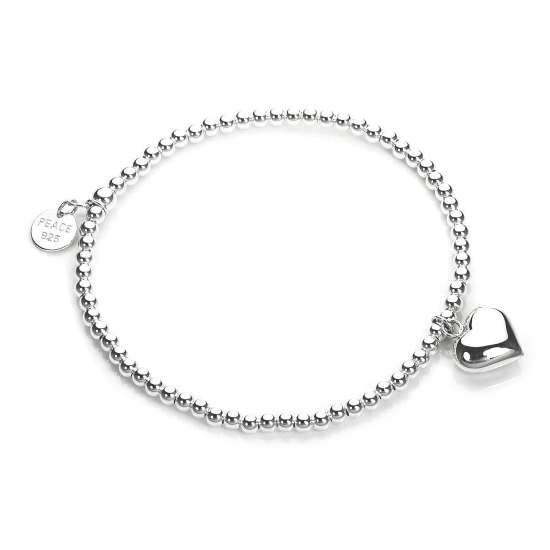 Sterling Silver Stretchy Beaded Heart Charm Bracelet