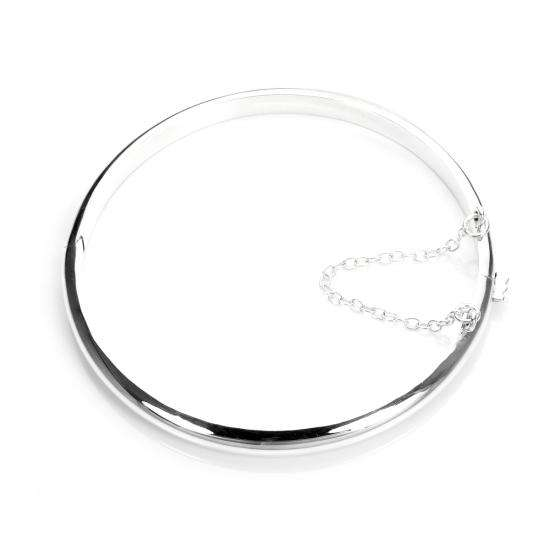Sterling Silver Plain Hinged Round Bangle