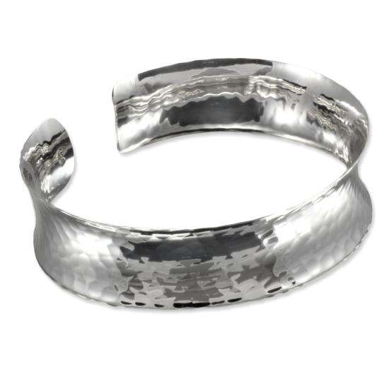 Sterling Silver Wide Hammered Finish Concave Cuff Bangle