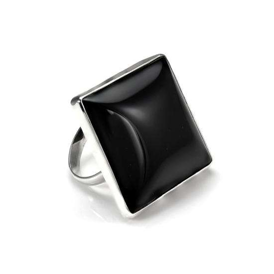 Sterling Silver Black Agate Diamond Shaped Adjustable Ring