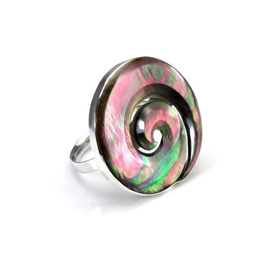 Sterling Silver Shell Large Swirling Green Adjustable Ring