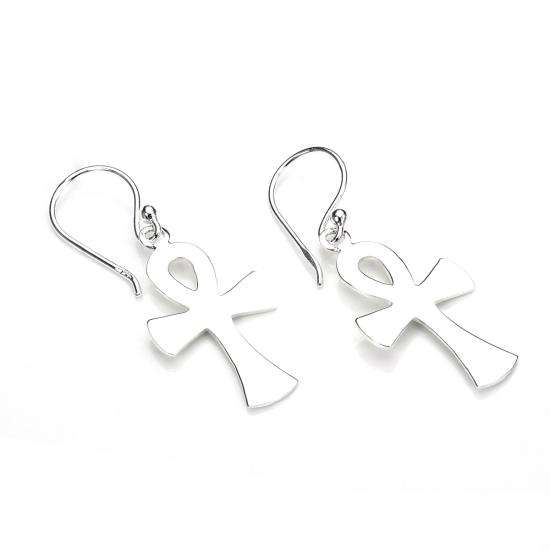 Sterling Silver Large Plain Ankh Drop Earrings