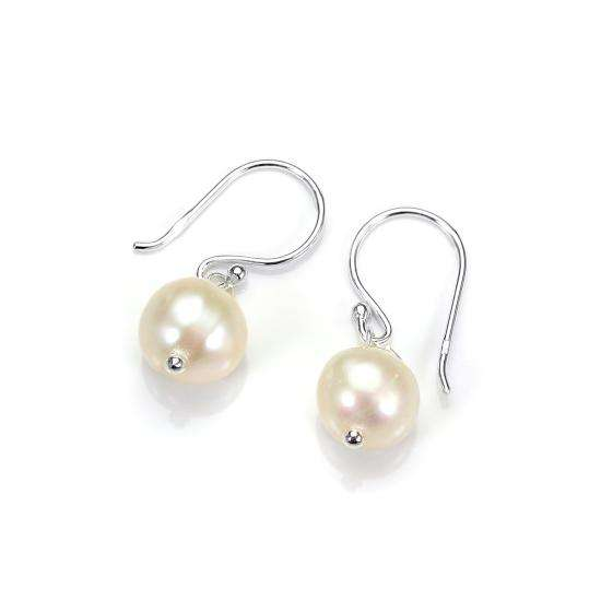 Sterling Silver 9mm Freshwater Pearl Drop Earrings
