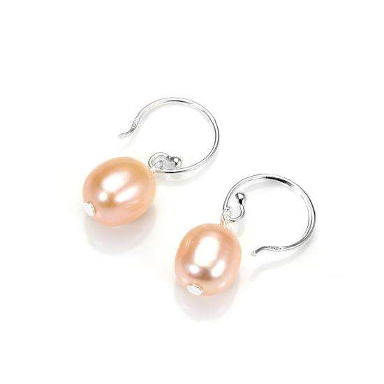 Sterling Silver Freshwater Golden Pearl Drop Earrings