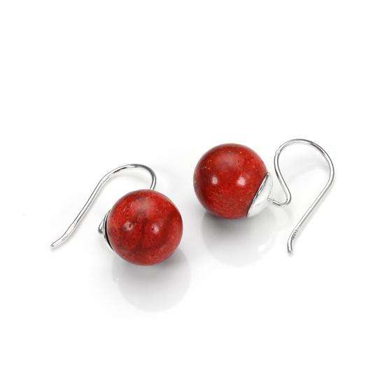 Sterling Silver Red Coral Drop Earrings