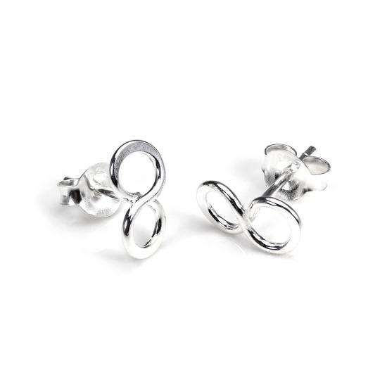 Sterling Silver Infinity Loop Stud Earrings