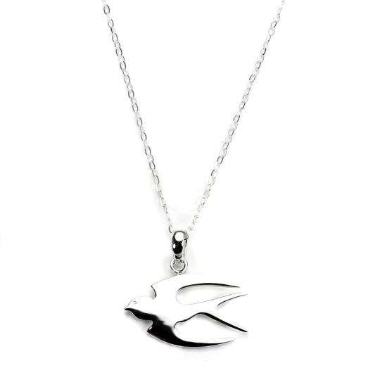 Sterling Silver Flat Swallow Pendant Necklace